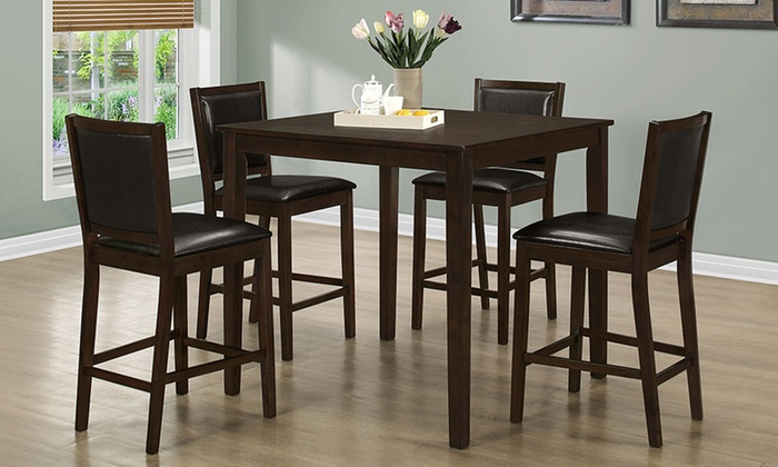 counter height dining set 5pc groupon goods. Black Bedroom Furniture Sets. Home Design Ideas