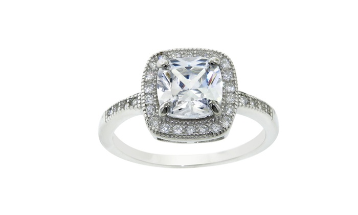 Sterling Silver and Cubic Zirconia Halo Ring: Sterling Silver and Cubic Zirconia Halo Ring. Multiple Cuts Available. Free Returns.