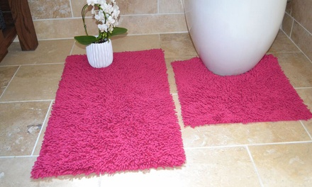 SoftTouch Cotton Shaggy Bath and Pedestal Mat Set