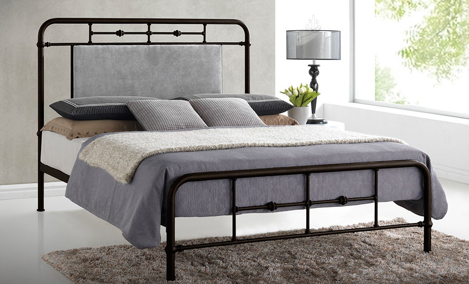 nashville full or queen metal bed with upholstered headboard