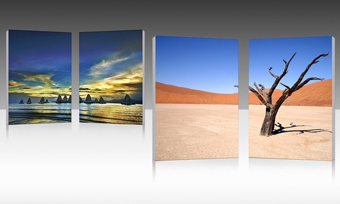Gallery-Wrapped Nautical and Landscape Diptychs: Gallery-Wrapped Nautical and Landscape Diptychs. Free Returns.