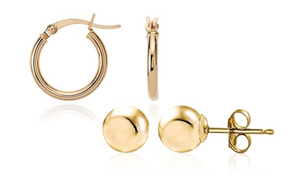 14K Solid Gold Ball or Hoop Earrings from $14.99 to $34.99