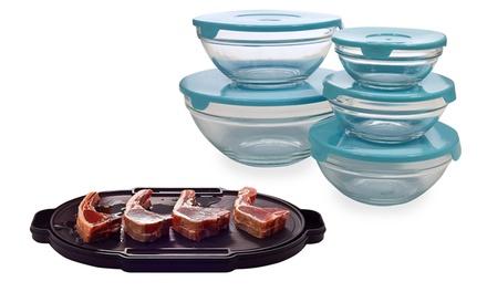 Conjunto de 5 caixas de vidro e prato de descongelamento oval por 29,95€