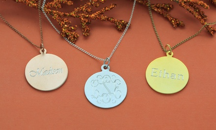Medallion Necklace with Laser-Engraved Name or Monogram from Monogram Online. Multiple Styles from $29.99–$34.99.