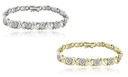 1.00 CTTW Diamond Accent X and Heart Bracelet