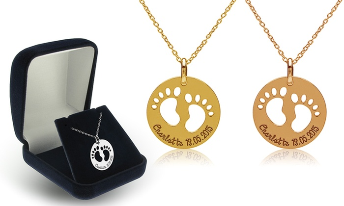 Jewells House: Custom Engraved Baby Feet Round Pendant from Jewells House (1 or 2-Pack)