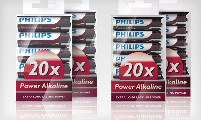 Philips Alkaline AA and AAA Batteries: $19 for Two 20-Packs of Philips Alkaline AA or AAA Batteries ($39.98 List Price)