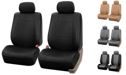 faux leather bucket seat covers groupon goods. Black Bedroom Furniture Sets. Home Design Ideas