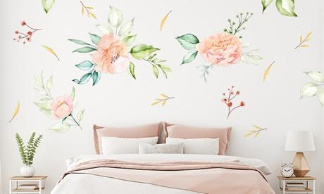 Pegatinas de pared con flores de peonía