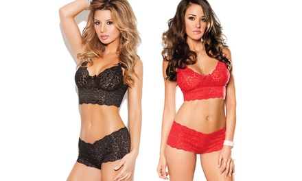 Stretch Lace Booty Shorts with Matching Camisole Tops Available from $17.99—$$18.99