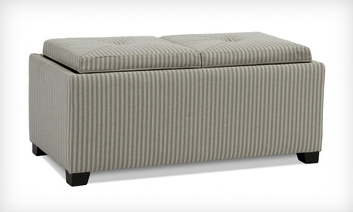 Devonshire Gray Fabric Tray Ottoman: $99 for a Devonshire Gray-Striped Fabric Tray Ottoman ($229.99 List Price). Free Shipping.