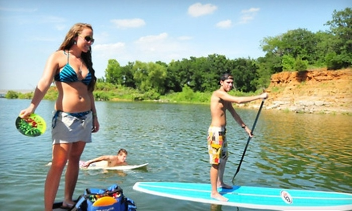 DFW Surf - Dallas: Stand-Up Paddleboard, Paddleboard Yoga, or Wake-Surf Lessons at DFW Surf in Grapevine. Three Options Available.