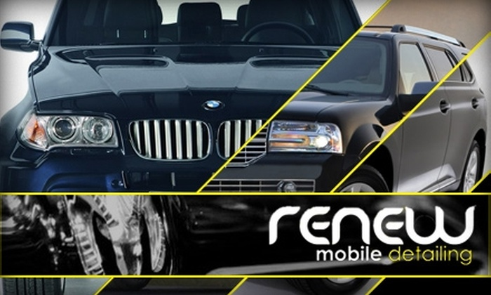Renew Mobile Detailing - Tulip Grove: 53% Off Auto Detailing at Renew Mobile Detailing. Buy Here for a $70 SUV or Large-Truck Detailing (Up to $150 Value). Click Below for Car or Small-Truck Detailing.