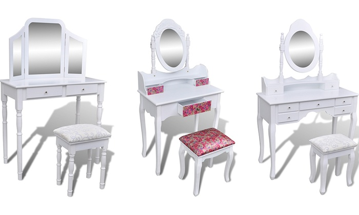 coiffeuse blanche avec miroir et tabouret groupon shopping. Black Bedroom Furniture Sets. Home Design Ideas