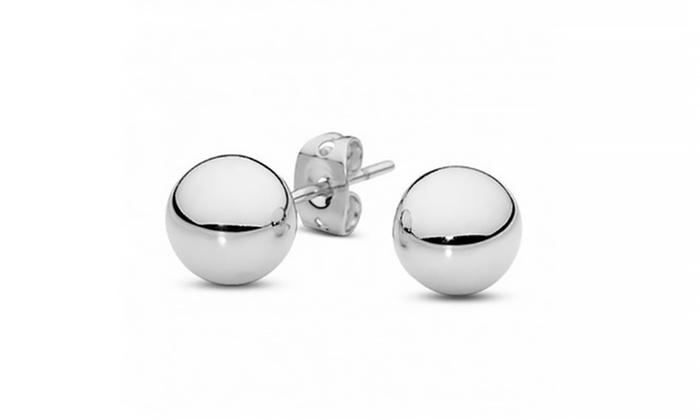 Ball Stud Earrings In Sterling Silver