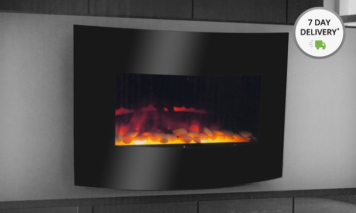 Warm House Electric Fireplace: Warm House Curved-Glass Electric Fireplace. Free Shipping.