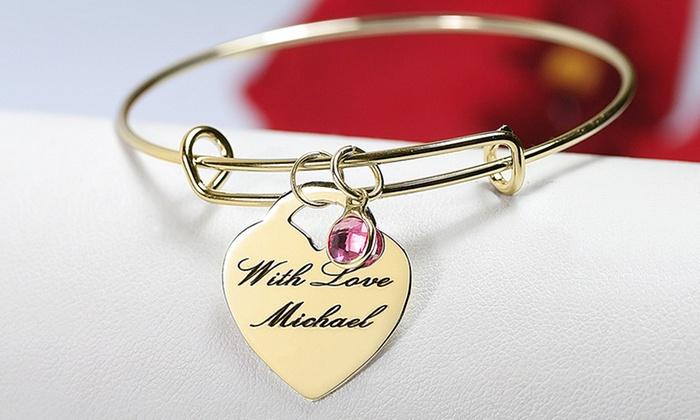 MonogramHub: Sterling Silver-Plated or Gold-Plated Laser-Engraved Heart Bracelet