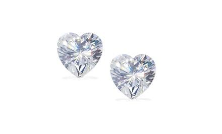 Sterling Silver 2-CTTW Cubic Zirconia Heart-Shaped Stud Earrings