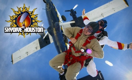 "Skydive Galveston's ""Skydiving in Houston!"" USA's Only Full Time Permanent Beach Landing Tandem Skydive! Where's the best place for skydiving in the Houston Texas area? Tandem parachute jumping over the ocean and landing on the beach takes your skydive experience to a whole new level of amazing that you cannot get jumping anywhere else!"