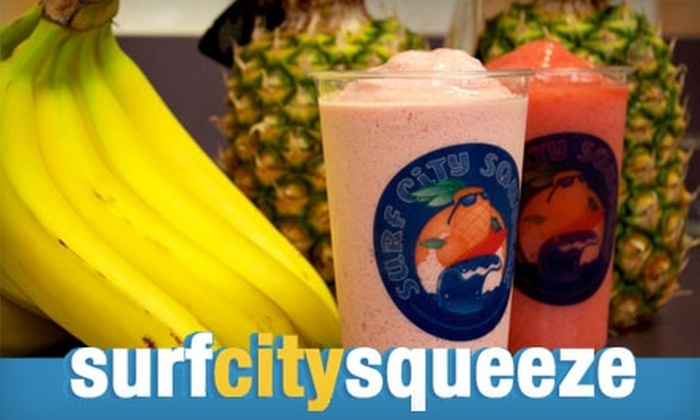 Surf City Squeeze - Multiple Locations: $4 for Two 20-Ounce Smoothies or Chillers at Surf City Squeeze (Up to $9 Value). Choose Between Two Locations.