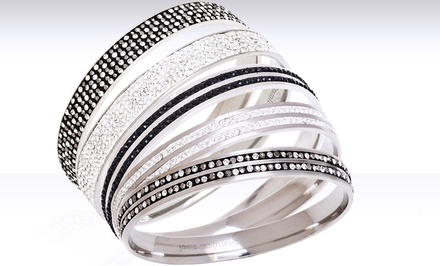 Stainless Steel Pave Bangles with Swarovski Elements