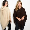 Knit Poncho Hoodie with Front Toggles