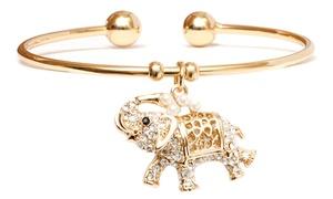 Elephant Charm Cuff Bangle With Swarovski Elements