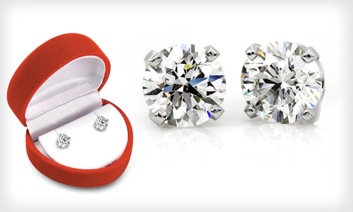 Certified Diamond Stud Earrings: Round-Cut Diamond Stud Earrings (Up to 57% Off). Four Options Available. Free Shipping and Free Returns.