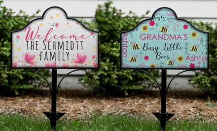One Personalized Magnetic Yard Sign or Set of Yard Sign and Garden Stake from GiftsForYouNow.com (Up to 43% Off)