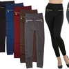 Women's Fleece Lined Leggings with Zipper Pockets (5-Pack)
