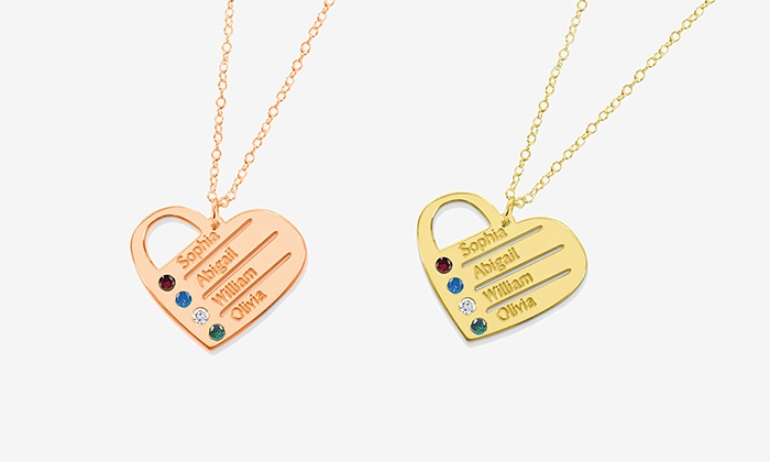 Monogram Online: Personalized Silver or Gold-over-Silver Heart Necklace with Names and Birthstones from Monogram Online (Up to 68% Off)