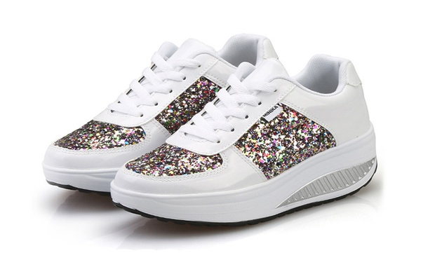 $29 for a Pair of Womens Glitter Sneakers in Choices of Size and Colour