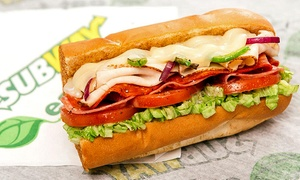 Subway: Footlong Subs, Chips, and Fountain Drinks for Two at Subway (Up to 45% Off). Two Options Available.