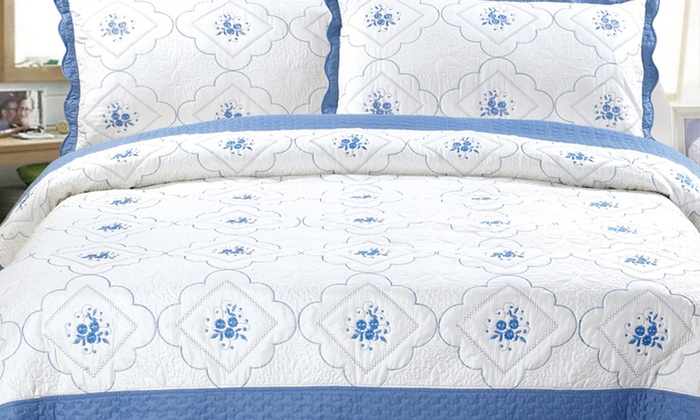 Embroidered Quilt Sets: Two- or Three-Piece Embroidered Quilt Sets. Multiple Styles and Sizes Available from $29.99–$44.99. Free Returns.