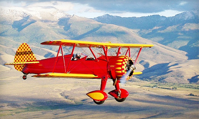 Far West Aviation - Santa Teresa: $195 for Open-Cockpit Biplane Rides for Two from Far West Aviation in Santa Teresa ($325 Value)