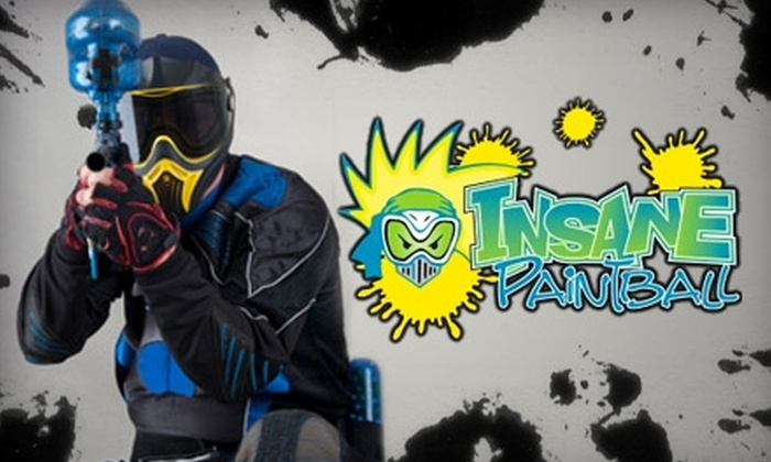 Insane Paintball - Riverside Area Community Club: $20 for Field Admission, Equipment Rental, and 500 Paintballs at Insane Paintball (Up to $40 Value)