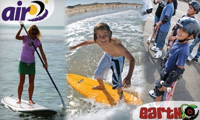 Air and Earth - Mount Pleasant: $25 for a One-Hour Paddleboarding, Surfing, or Skateboarding Lesson Plus a Quick-Dry T-Shirt ($74.99 Value)