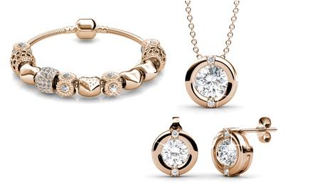 1 o 2 bracciali con cristalli placcati in oro, disponibili in 2 colori