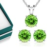 3 CTW Peridot Necklace and Earring Set in Sterling Silver