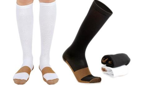 1, 2 o 4 pares de calcetines de compresión de cobre