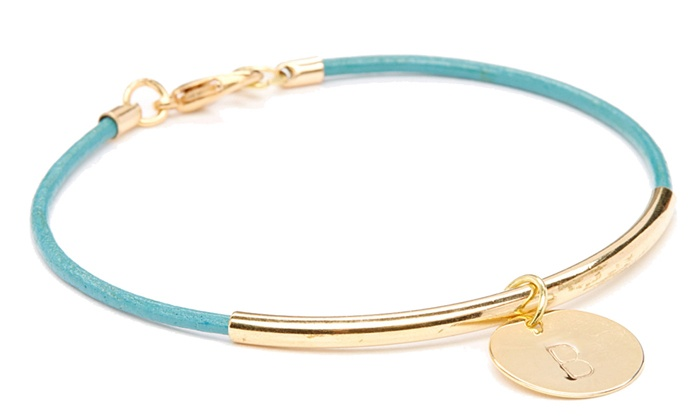 Calinana: One, Two, or Four Groupons, Each Good for a Leather Initial Bracelet from Calinana (Up to 83% Off)