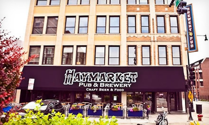 Haymarket Pub & Brewery - West Town: $38 for a Sunday Brewery Tour with Beer, a Sausage Plate, and a Growler for Two at Haymarket Pub & Brewery ($75 Value)