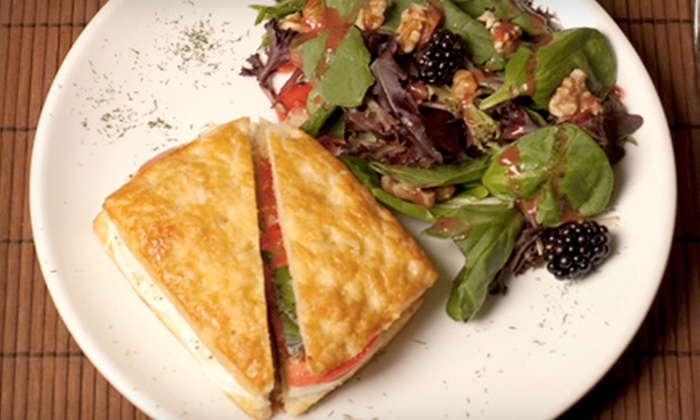 The Atrium Cafe - Midtown Center: Greek Lunch with Appetizer, Entrees, and Wine for Two or Four at The Atrium Cafe (Up to 60% Off)