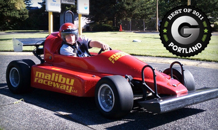 Malibu Raceway - Greenway: $25 for a Go-Kart Outing for Two with Game-Room Wristbands and Licenses at Malibu Raceway in Beaverton ($55.40 Value)
