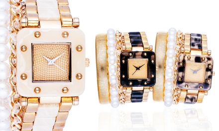 Arm Candy Ladies Square Tortoise Watch and Bracelet Set