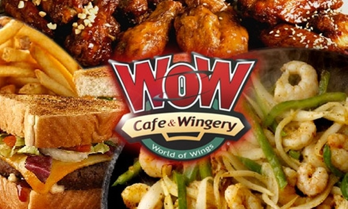 WOW Café & Wingery - Multiple Locations: $15 for $30 Worth of Wings and Casual American Eats at Wow Café & Wingery. Choose One of Nine Locations.