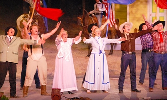 """Discoveryland! - Sand Springs: $36 for Dinner, Dessert, Playbills, Snacks, and Tickets for Two to """"Oklahoma!"""" ($73.76 Value) or $21 for Two Tickets to """"Oklahoma!"""" ($42.10 Value) at Discoveryland! In Sand Springs"""