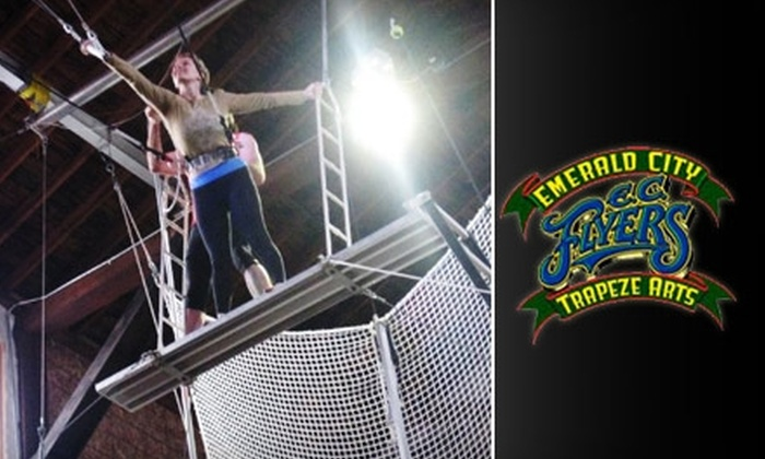 Emerald City Trapeze Arts - Industrial District East: $30 for a Flying-Trapeze Class or $18 for One Ticket to a Halloween Circus Party at Emerald City Trapeze Arts
