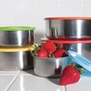 Stainless Steel Bowl Set with Colored Lids (10- or 20-Piece)