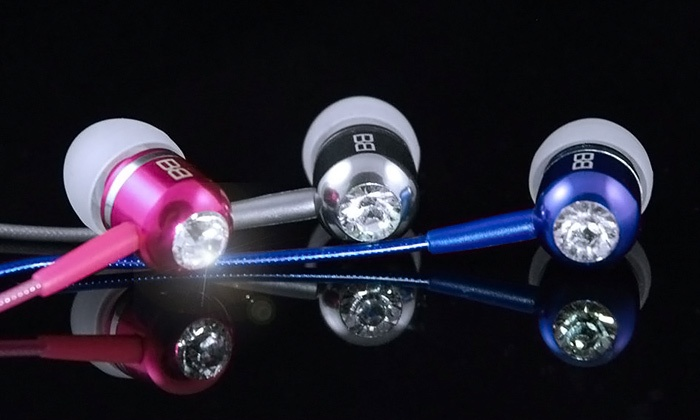 BassBuds: In-Ear Headphones with Swarovski Crystals from BassBuds (80% Off). Two Options Available.